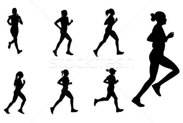 Kadın maraton İkincisi siluetleri vücut sağlık Stok fotoğraf © bokica