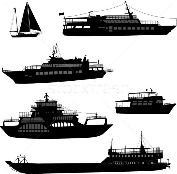 Hajók hajók sziluettek tenger hajó ipari Stock fotó © bokica