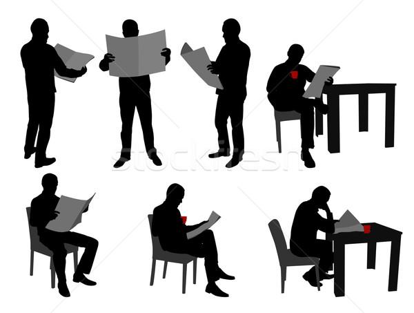 Man lezing kranten silhouetten krant nieuws Stockfoto © bokica