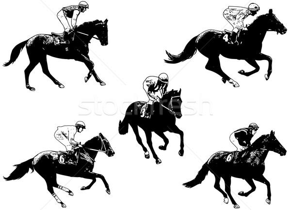 Racing paarden illustratie sport snelheid lopen Stockfoto © bokica