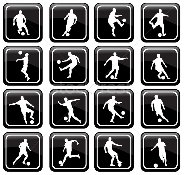 set of 16 soccer icons Stock photo © bokica