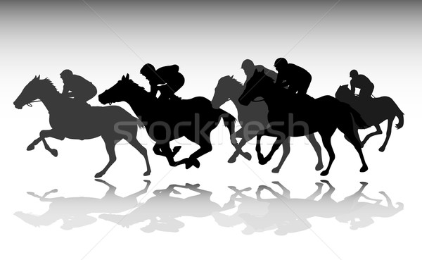 Horse Race Silhouettes Stock Photo C Bokica