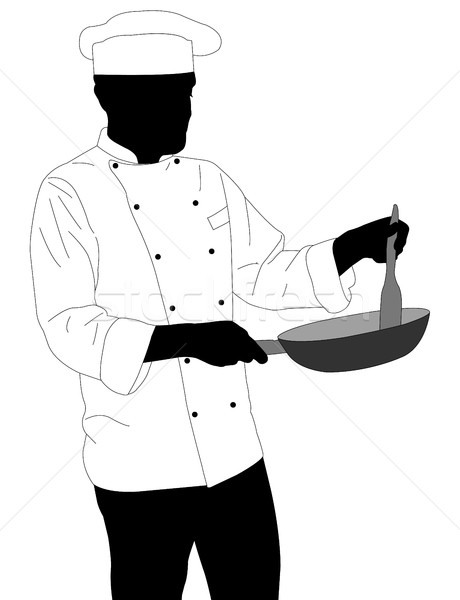 Chef sartén silueta cocina cena Foto stock © bokica