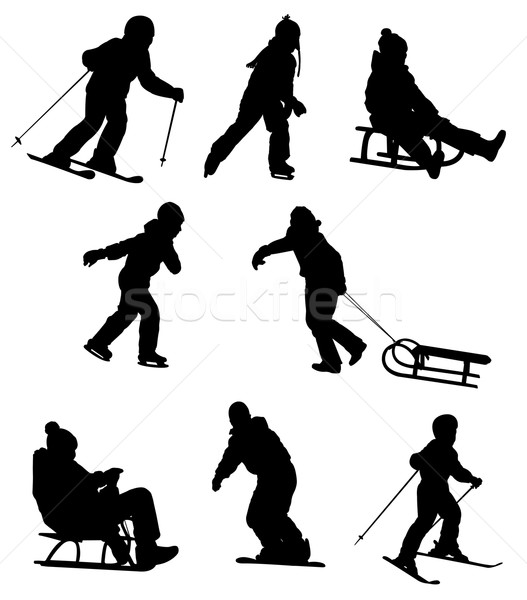 Gyerekek élvezi tél sportok jókedv testmozgás Stock fotó © bokica
