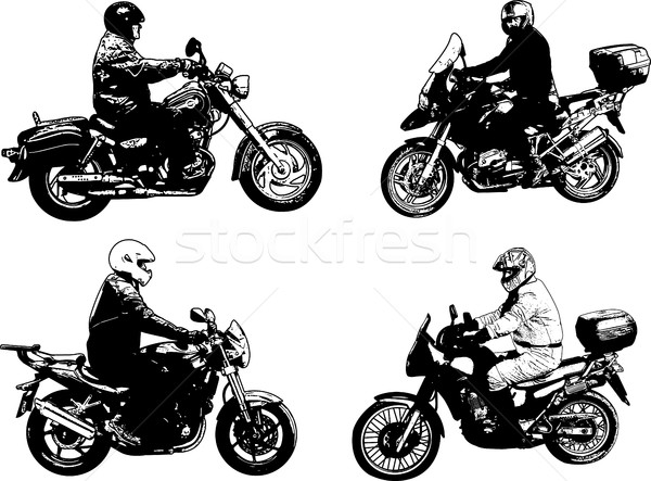 four sketch motorcyclists illustration Stock photo © bokica