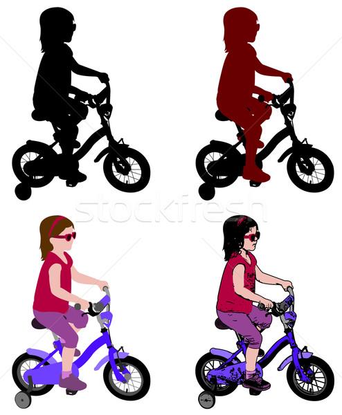 Kislány lovaglás bicikli sziluett illusztráció család Stock fotó © bokica