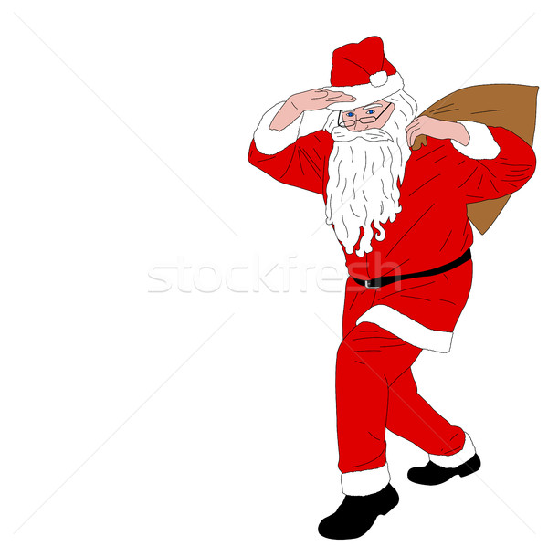Santa Claus carrying  bag full of gifts Stock photo © bokica