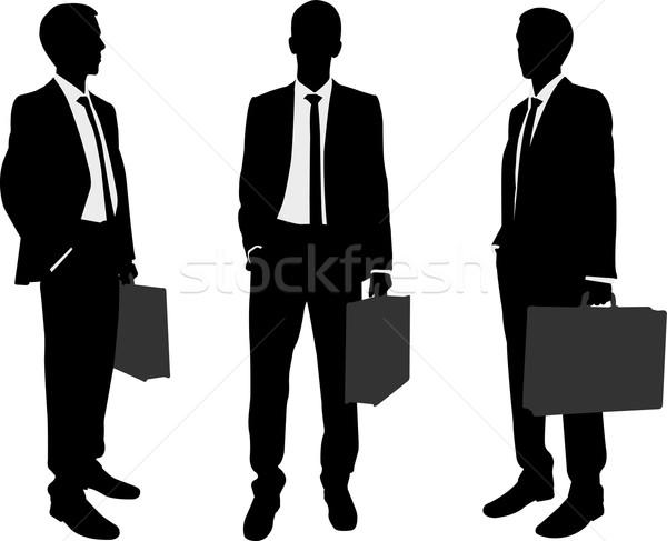 Zakenman aktetas silhouetten kantoor hand Stockfoto © bokica