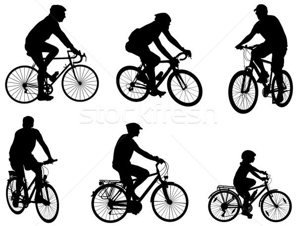 Silhouetten ingesteld kruis veld fiets pak Stockfoto © bokica