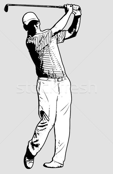 golf player sketch illustration Stock photo © bokica