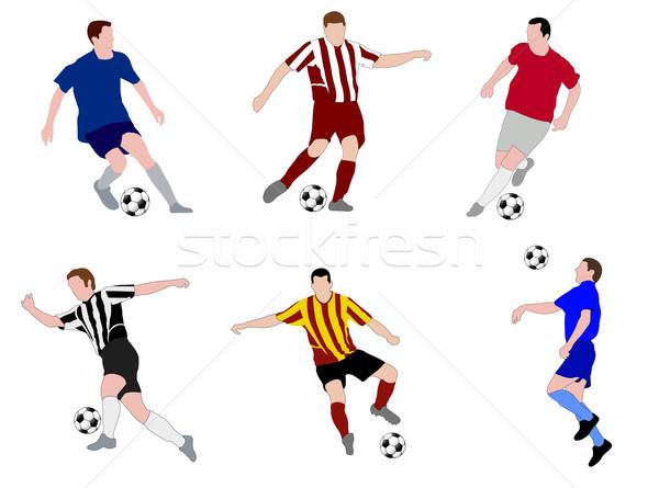 Futball játékosok illusztráció világ futball férfiak Stock fotó © bokica