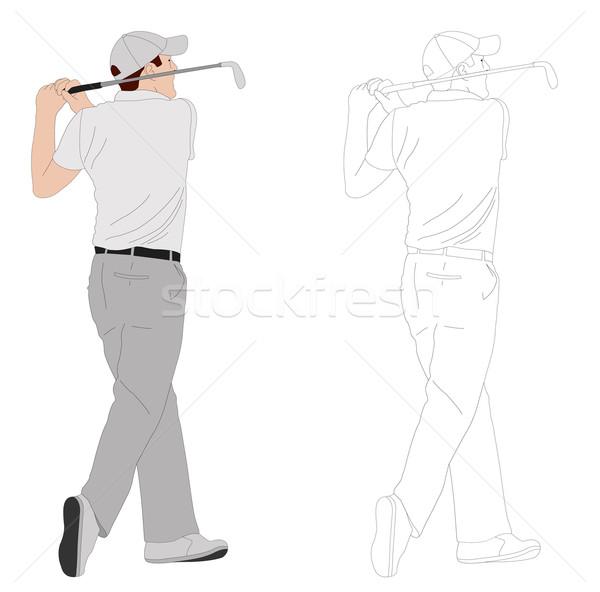 Golfozó illusztráció fű golf test pihen Stock fotó © bokica