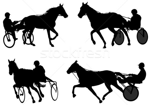 Trotters race silhouettes Stock photo © bokica