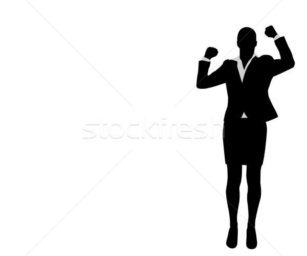 Zakenvrouw handen omhoog vieren succes ruimte uitvoerende Stockfoto © bokica