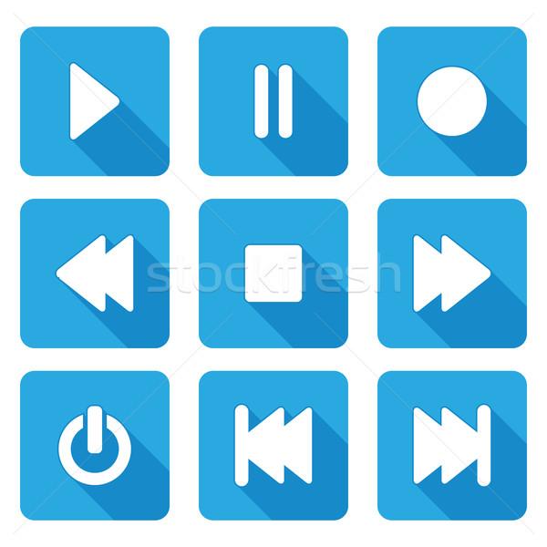 Style multimédia icônes web mobiles demande Photo stock © bokica