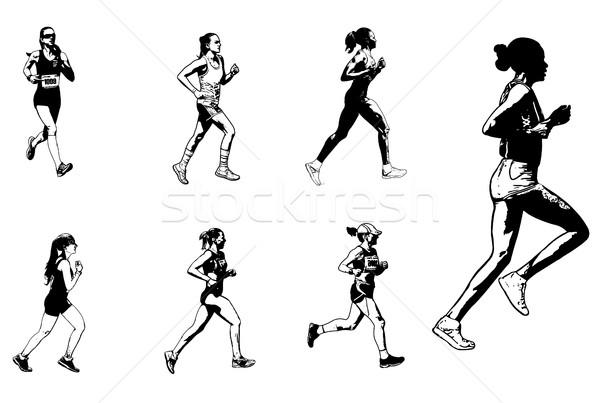 Kadın maraton İkincisi kroki örnek kadın Stok fotoğraf © bokica