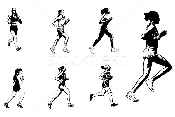 Homme marathon coureurs croquis illustration femme Photo stock © bokica