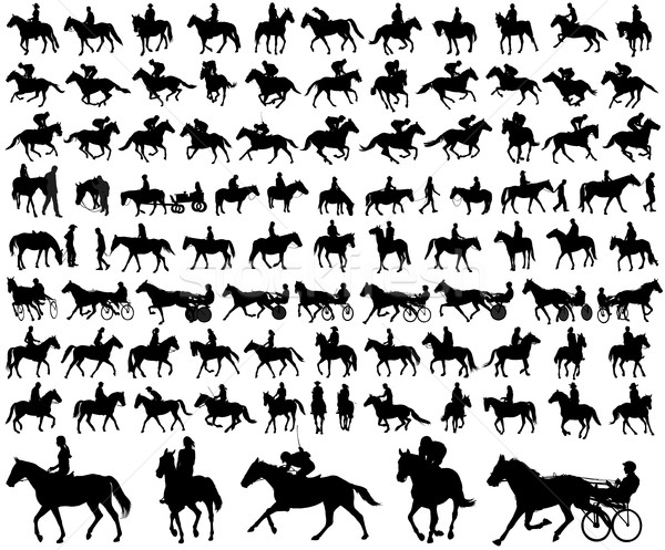 people riding horses silhouettes collection Stock photo © bokica