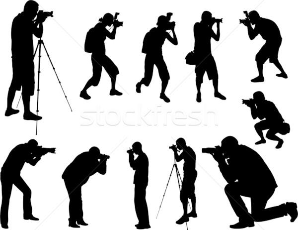 Silhouettes ensemble femme nature film sac Photo stock © bokica
