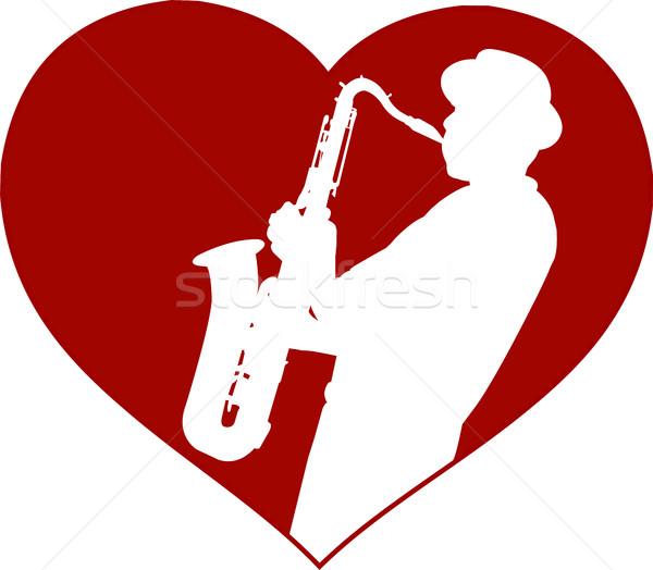 Szeretet dzsessz zene szív felirat sziluett Stock fotó © bokica