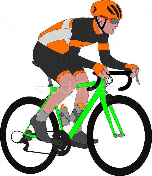 racing bicyclist illustration Stock photo © bokica