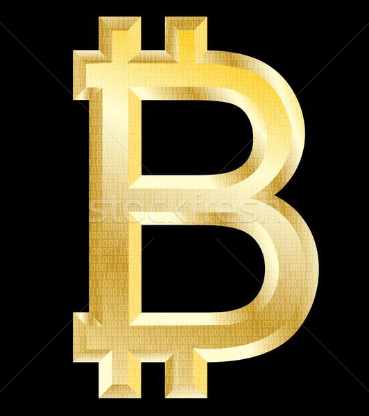 Bitcoin gouden symbool mobiele financieren bank Stockfoto © bokica
