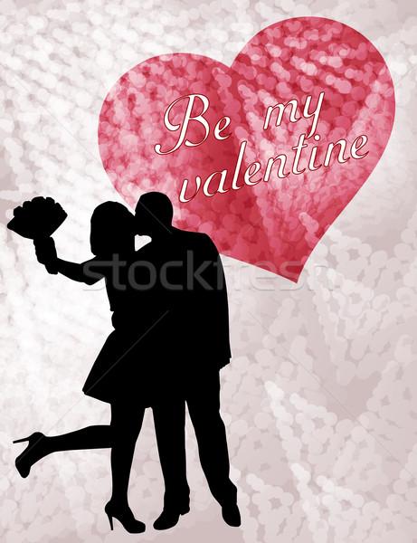 couple in love silhouette, valentine card Stock photo © bokica