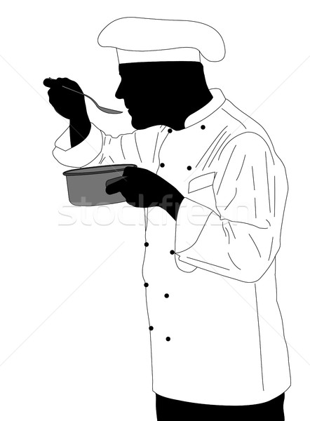 Cocina chef degustación salsa ilustración alimentos Foto stock © bokica