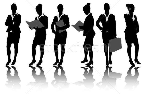 businesswoman silhouettes - vector Stock photo © bokica