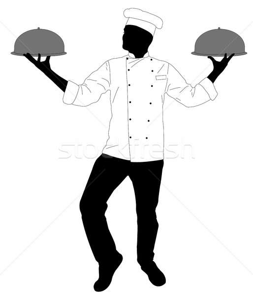 Konyha szakács adag étel sziluett étterem Stock fotó © bokica