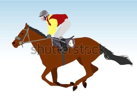 Stock fotó: Lovaglás · ló · illusztráció · nő · lány · sport