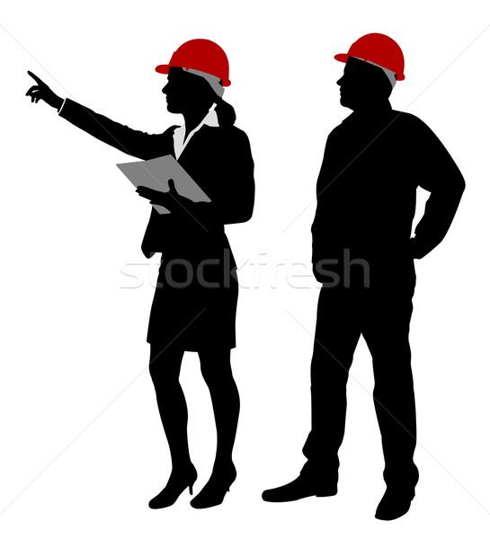 Ingenieur werken silhouetten man vergadering bouw Stockfoto © bokica