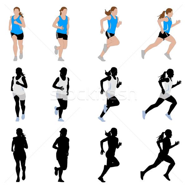 Vrouwelijke runner sport lichaam gezondheid lopen Stockfoto © bokica
