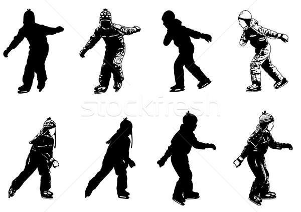 ice skating kids silhouettes Stock photo © bokica