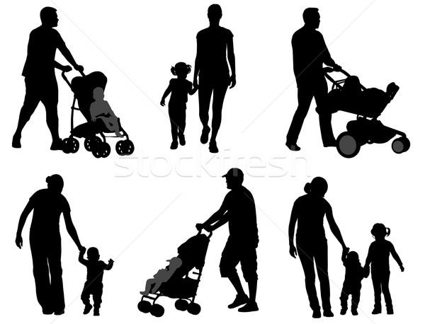 Ouders lopen kinderen silhouetten meisje hand Stockfoto © bokica