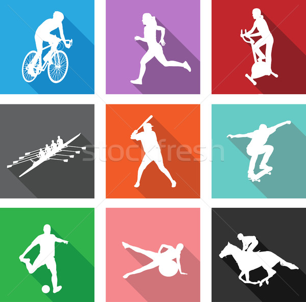 sport silhouettes on flat icons for web or mobile applications Stock photo © bokica