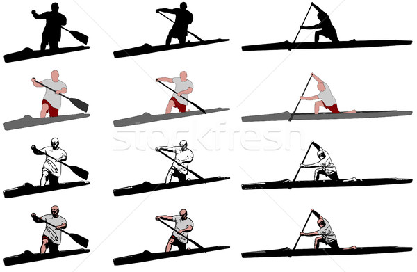 Futás kenu versenytársak tenger jókedv tó Stock fotó © bokica