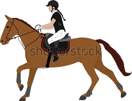 girl riding a horse Stock photo © bokica