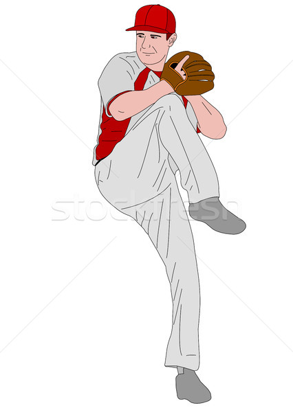 baseball pitcher detailed illustration Stock photo © bokica