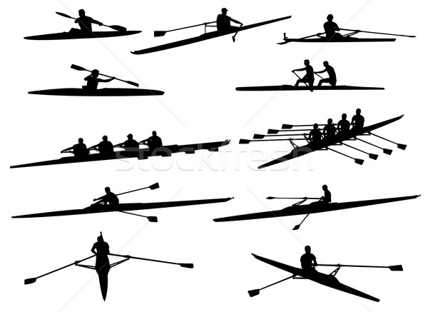Stock photo: rowing silhouettes