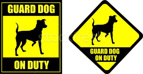 Vicces felirat őrkutya kötelesség sziluett biztonság Stock fotó © bokica