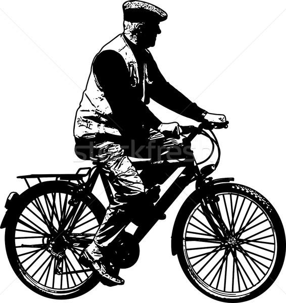 Ouderen man paardrijden fiets schets illustratie Stockfoto © bokica