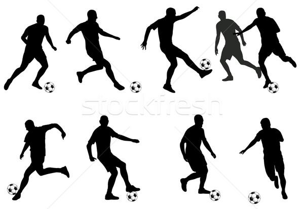 Stockfoto: Voetbal · spelers · gedetailleerd · silhouetten · ingesteld · wereld