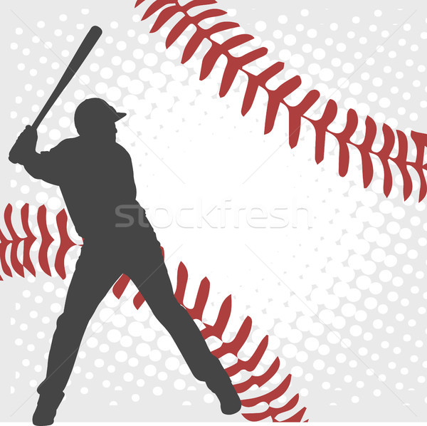 baseball player silhouette on the abstract background Stock photo © bokica