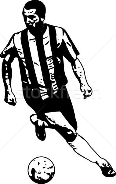 Fußballer Skizze Illustration Fußball Männer Silhouette Stock foto © bokica