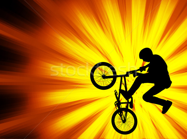 bmx bicyclist on the abstract background Stock photo © bokica