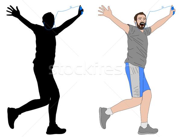 счастливым человека работает иллюстрация силуэта Сток-фото © bokica