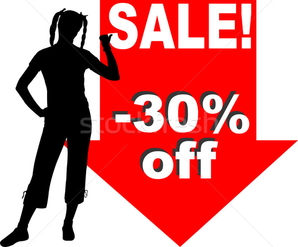 attractive woman showing discount sign Stock photo © bokica