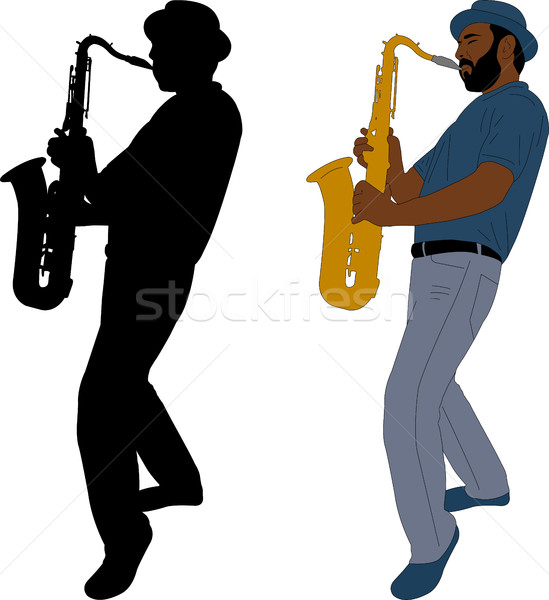 musician plays saxophone illustration and silhouette Stock photo © bokica