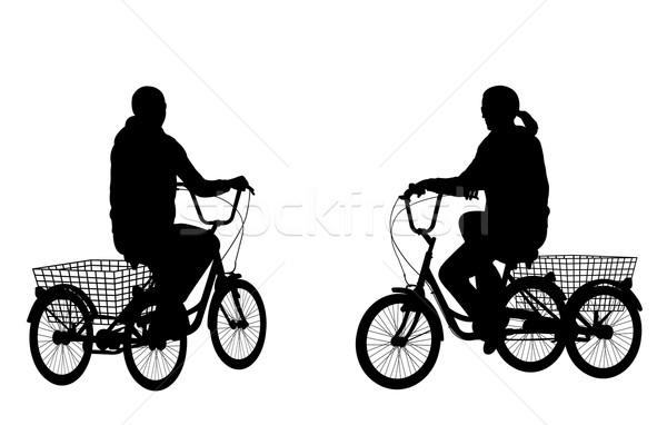 Stok fotoğraf: Genç · kadın · binicilik · üç · tekerlekli · bisiklet · siluetleri · yol · siluet